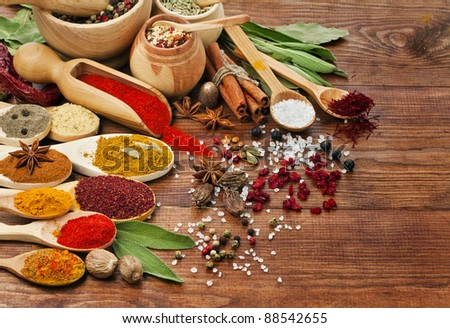 spices assortment on spoons in wooden background - stock photo