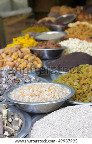 Spices at the asian market - stock photo