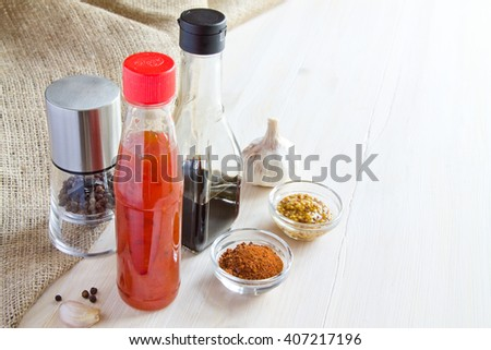 Spices. Chili, pepper and soy sauce - stock photo