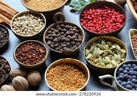 Spices composition. Cooking ingredients in a metal bowls. - stock photo