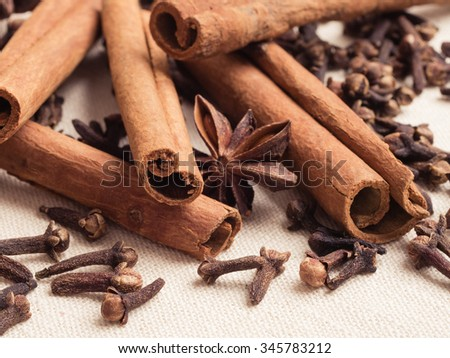 Spices for christmas cakes cinnamon sticks anise stars and cloves on burlap background - stock photo
