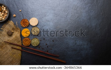 Spices for heath and cooking on background. - stock photo