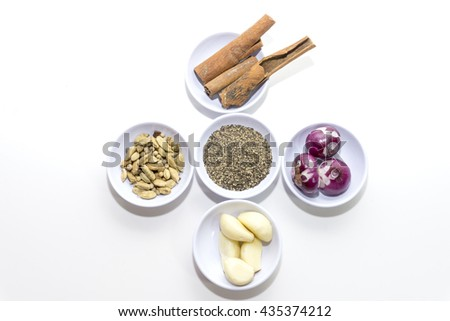 Spices for herb and cooking,Top view spices on white background,spices content,Various kinds of spices on white background.