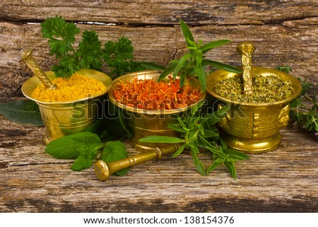 Spices for the kitchen - dry oregano, saffron and mix in three copper mortar and fresh sprigs of herbs - stock photo