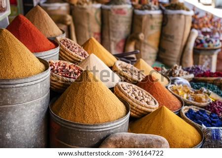 Spices from Marrakesh souk, Morocco.