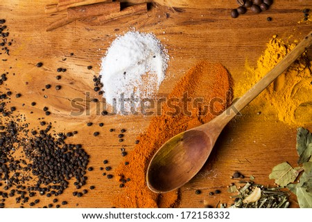 Spices. Heap of various spices on the table