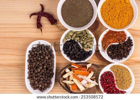 Spices in a beautiful serving.
