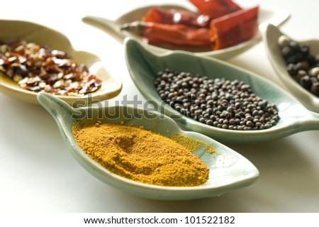 Spices in fancy leaf shape containers - stock photo