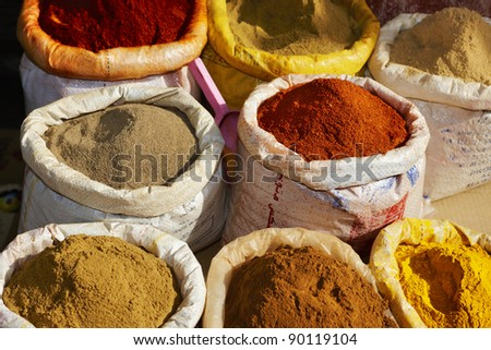 Spices in Marrakesh, Morocco, Africa, old Medina - stock photo
