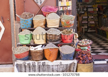spices in the souk of Marrakesh, Morocco