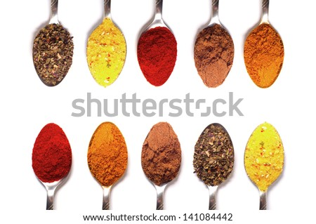 spices in the spoons on a white background - stock photo