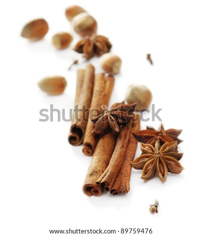 Spices isolated on white backgorund