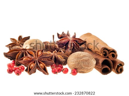 spices, isolated white background