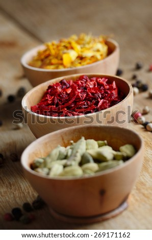 Spices on the wooden table - stock photo