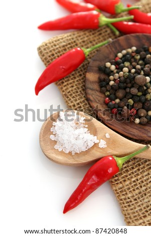 Spices over white background with copyspace