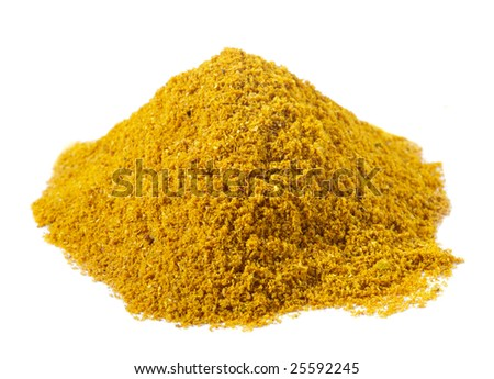 spices - pile of Hot madras curry over white