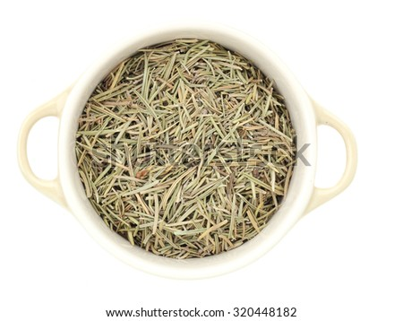 spices;rosemary dried herbs on white background