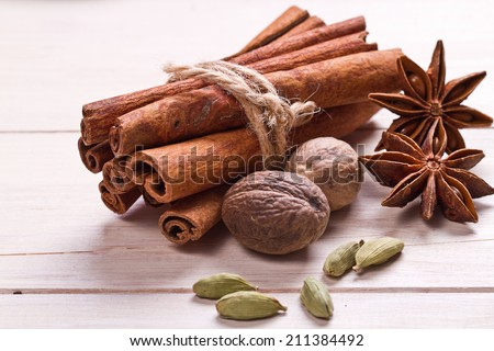 Spices set.Various seasonings for cooking, anise, cardamom, cloves, cinnamon - stock photo