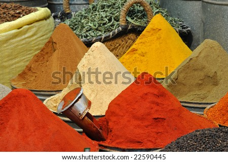 Spices shop in the medina of Fes, Morocco - stock photo