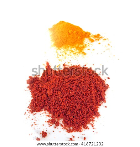 Spices Turmeric and  ground  Paprika isolated on white