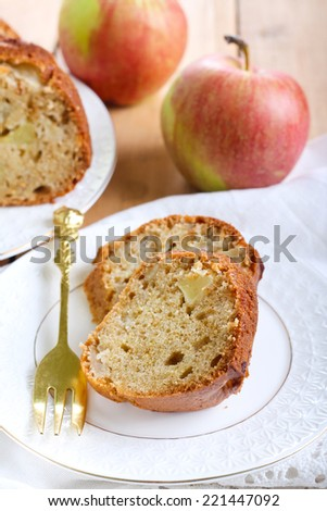 Spicy apple ring cake, selective focus