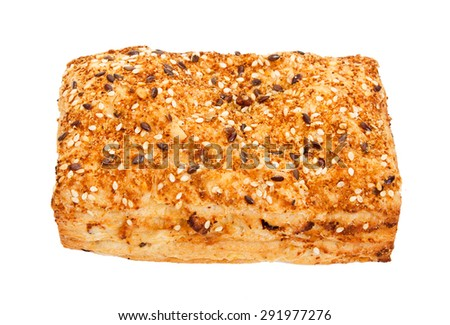 Spicy bun sprinkled with sesame seeds, isolated on white. - stock photo