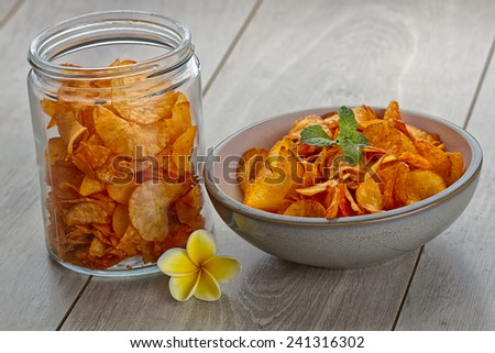 spicy cassava chips, Indonesian snacks - stock photo