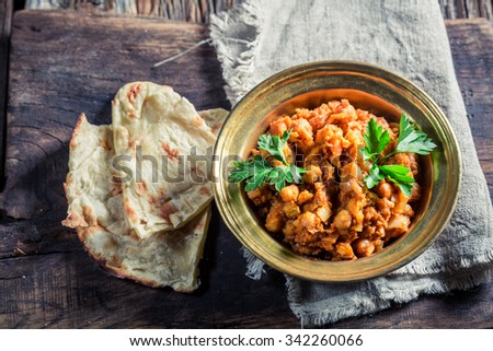 Spicy Channa Masala with chickpeas - stock photo
