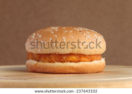 Spicy chicken hamburger  - stock photo