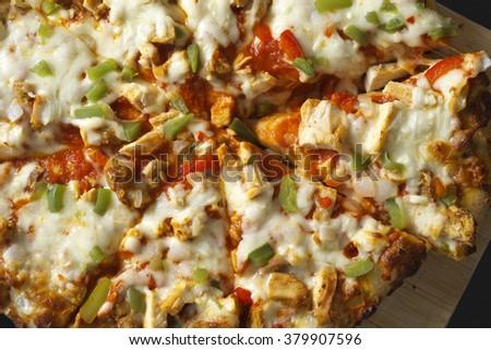 Spicy chicken pizza - stock photo