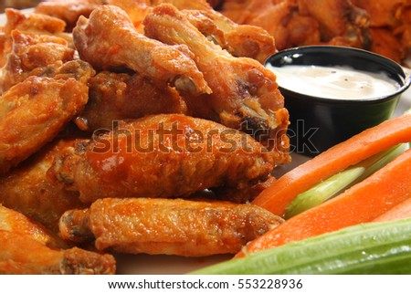 Spicy chicken wings with ranch dip