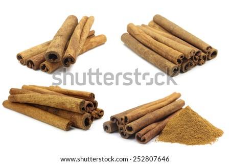 spicy cinnamon sticks on white background - stock photo