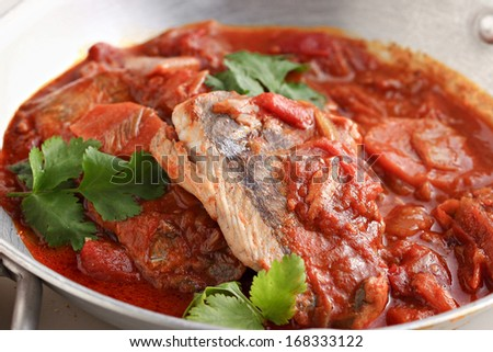 spicy fish dish - stock photo