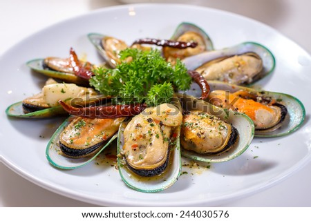 Spicy giant mussel - stock photo