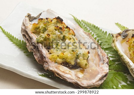 Spicy grass firing of the oyster - stock photo