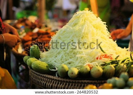 Spicy Green papaya salad Som Tam, Thai food - stock photo