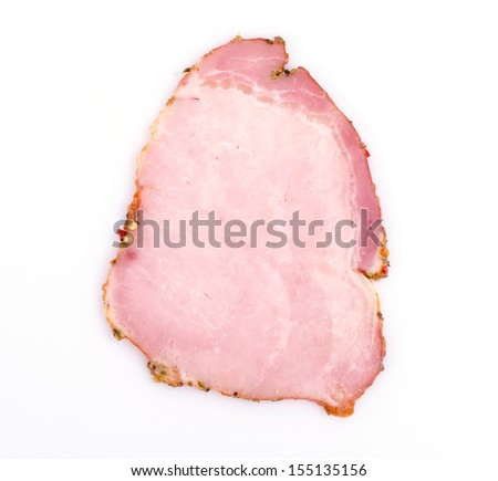 Spicy ham on white background - stock photo