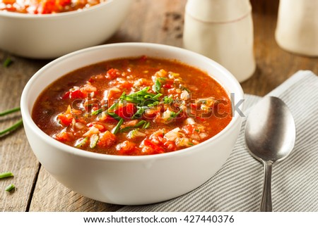 Spicy Homemade Gazpacho Soup Ready to Eat - stock photo