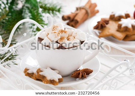 spicy hot chocolate with marshmallows, close-up - stock photo
