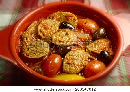 Spicy Italian sausage casserole ready to eat. - stock photo