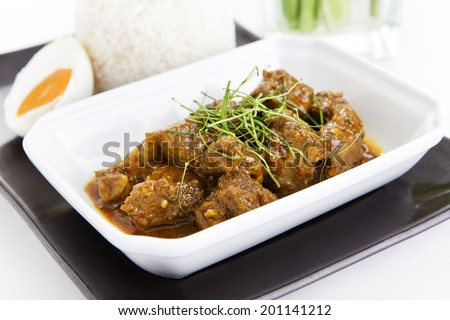 Spicy Mince Pork with Chilli Paste (Southern Thai Style) with rice - stock photo