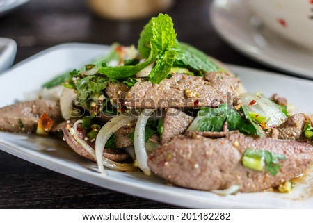 Spicy minced pig liver, Thai food