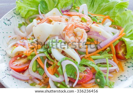 Spicy mixed seafood.delicious spicy seafood thai food - stock photo