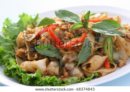Spicy Noodle Ground Chicken (Pad Kee Mao Gai Sab) - stock photo