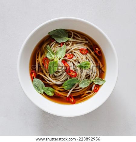 Spicy Noodle Soup. Miso Soup. - stock photo