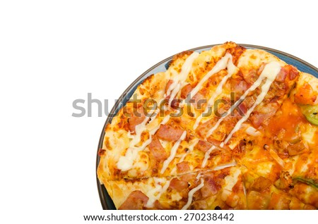 spicy pizza isolated on white background