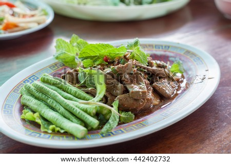 Spicy pork liver (Select point focus)
