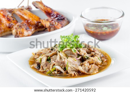 spicy pork salad and grilled chicken for thai food - stock photo