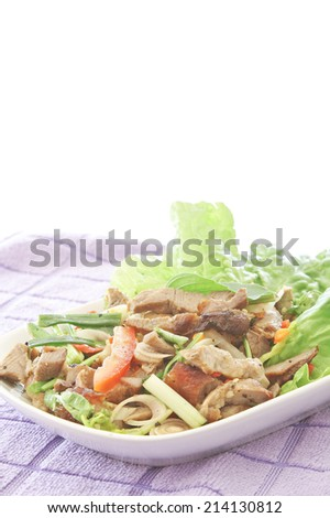 Spicy pork salad with vegetables