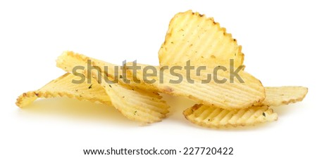 Spicy potato chips isolated on white background - stock photo
